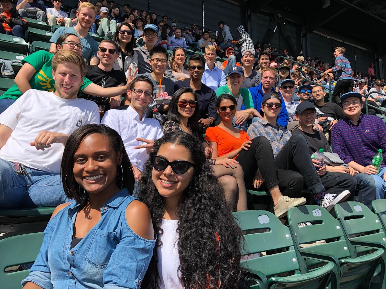 Gilbert and Feng lab at the giants game - 9/12/2018