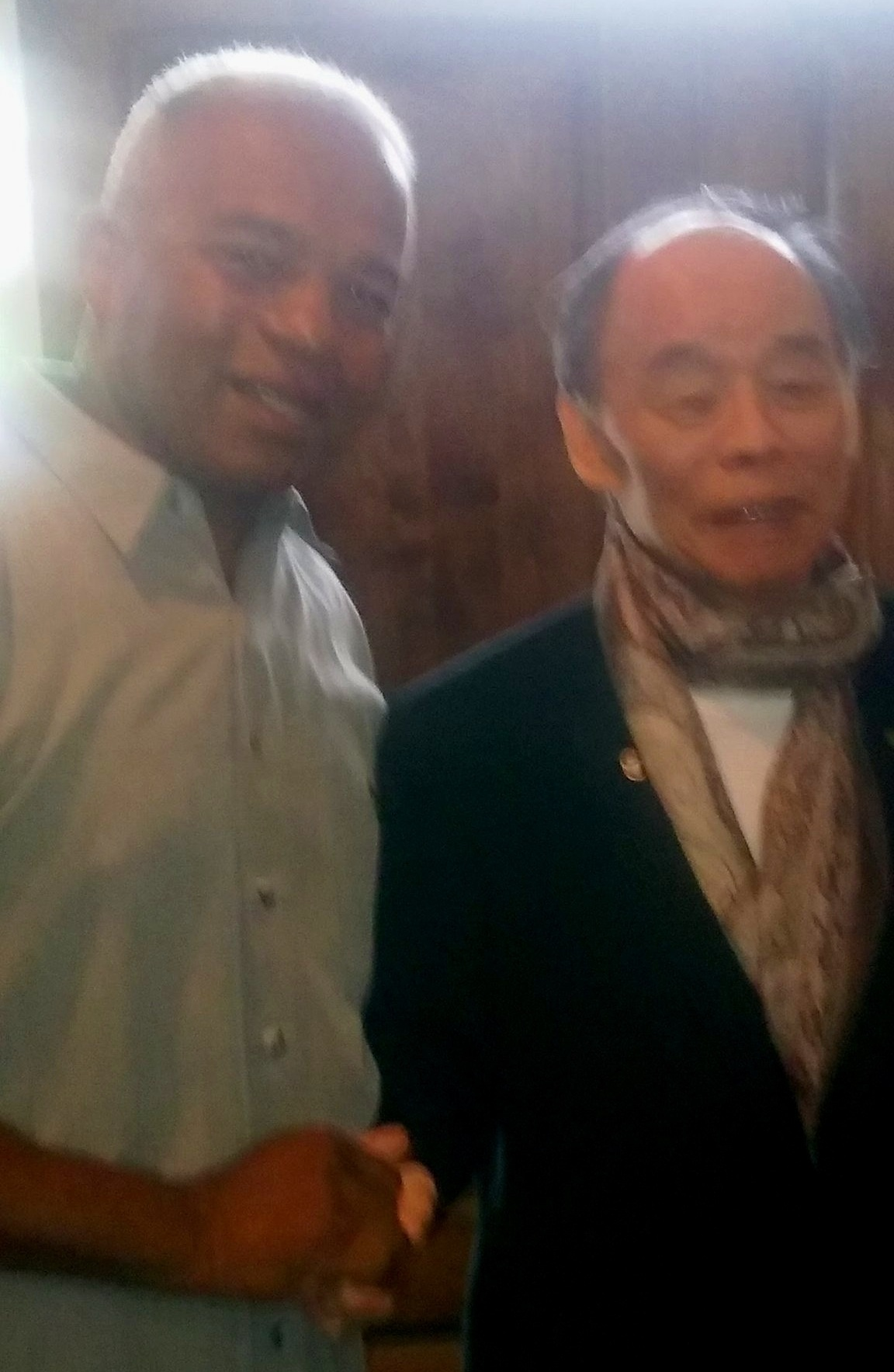 "Master Batiste with his most influential instructor, Jhoon Rhee< ""The Father of American Tae Kwon Do""."