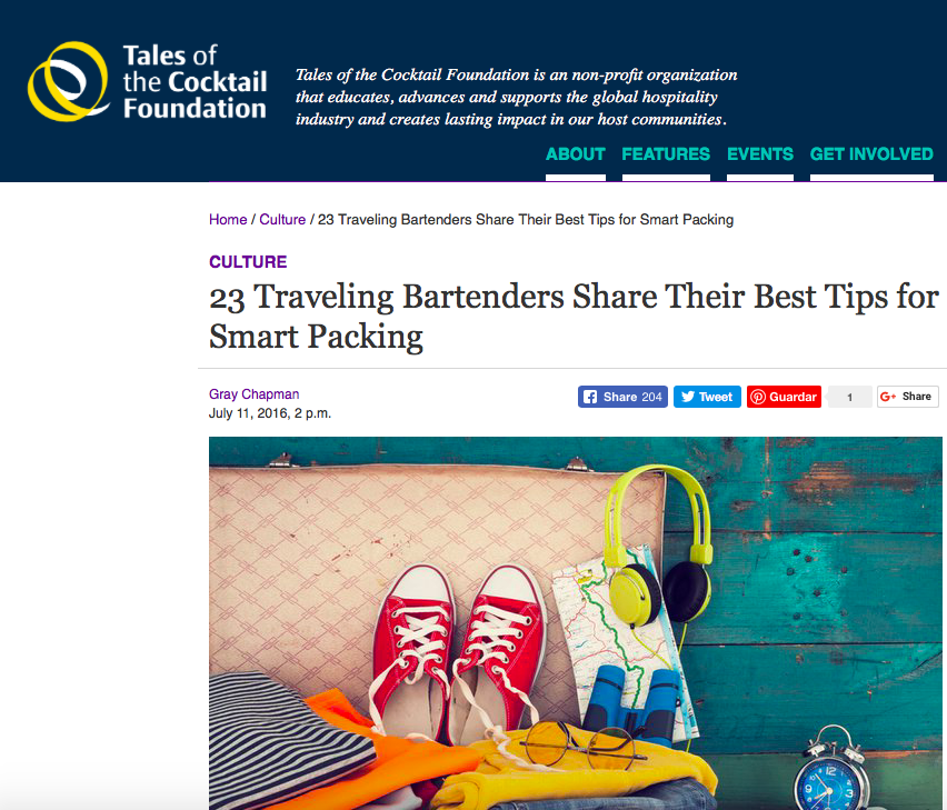 Tales of the Cocktails - 23 Traveling Bartenders Share Their Packing Tips