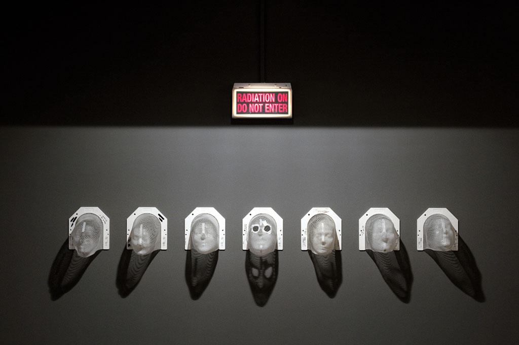 James Darling & Lesley Forwood,  Brain cancer masks , 2014, moulded white mesh thermoplastic, 7 masks of 32 x 25 x 27 cm