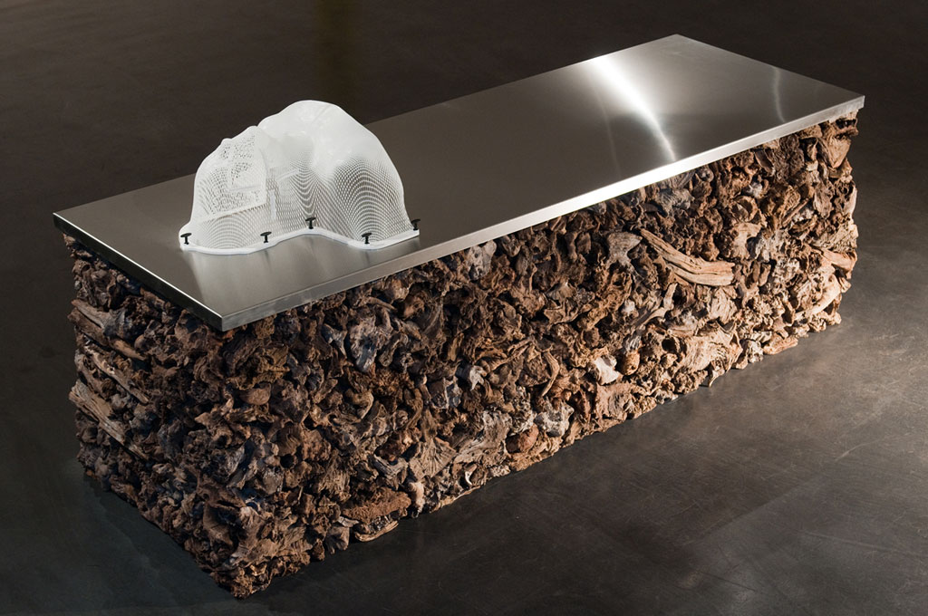 James Darling & Lesley Forwood,  Treatment Bench , 2014, 0.9 tonnes of Mallee roots, stainless steel, head and shoulders masked, 0.75 x 2.25 x 0.75 m