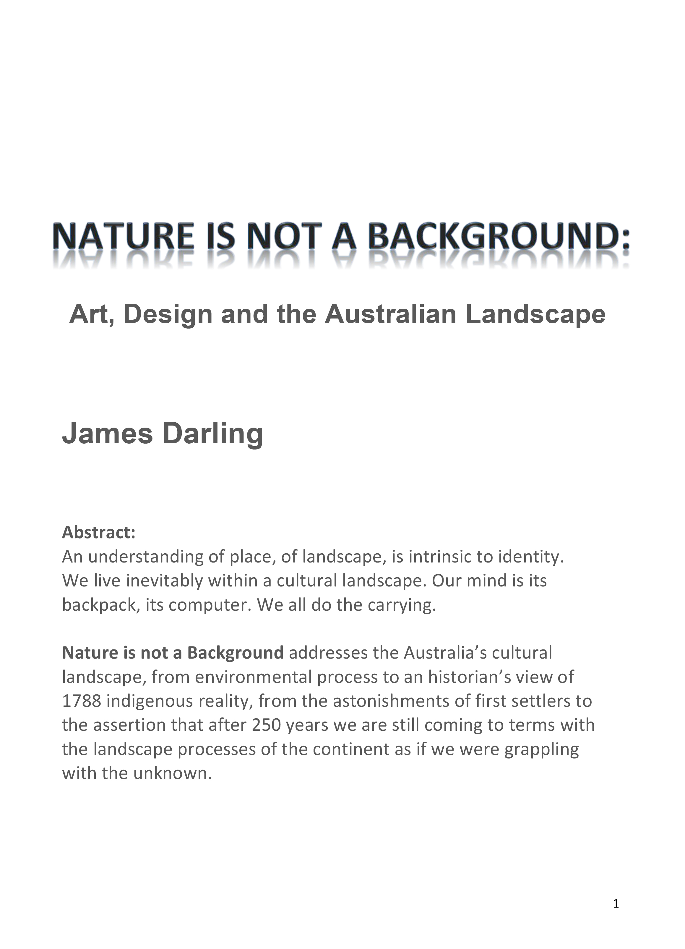 Nature is not a background; Art, Design and the Australian Lanscape