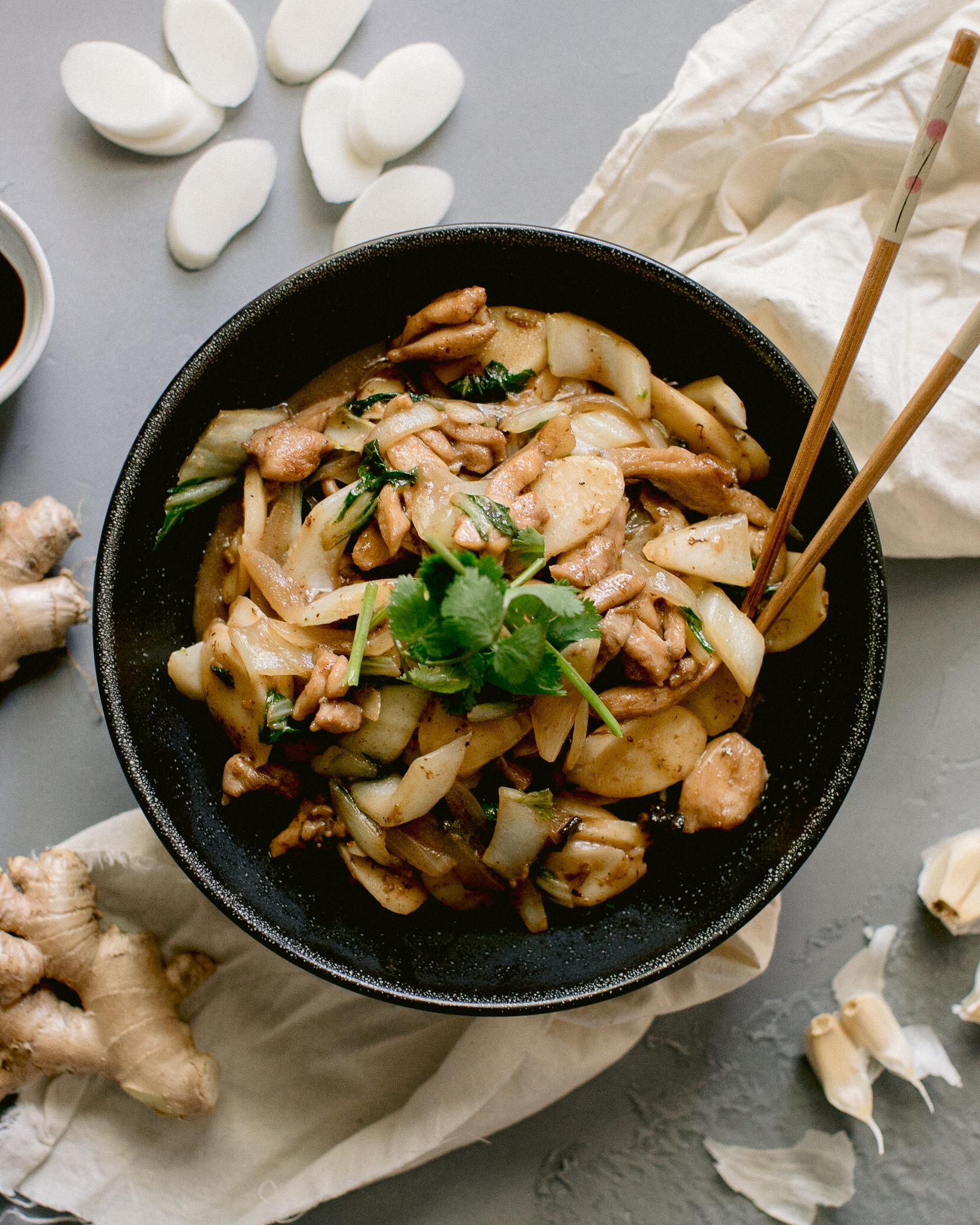 Chicken Rice Cake Stir Fry Honeysuckle
