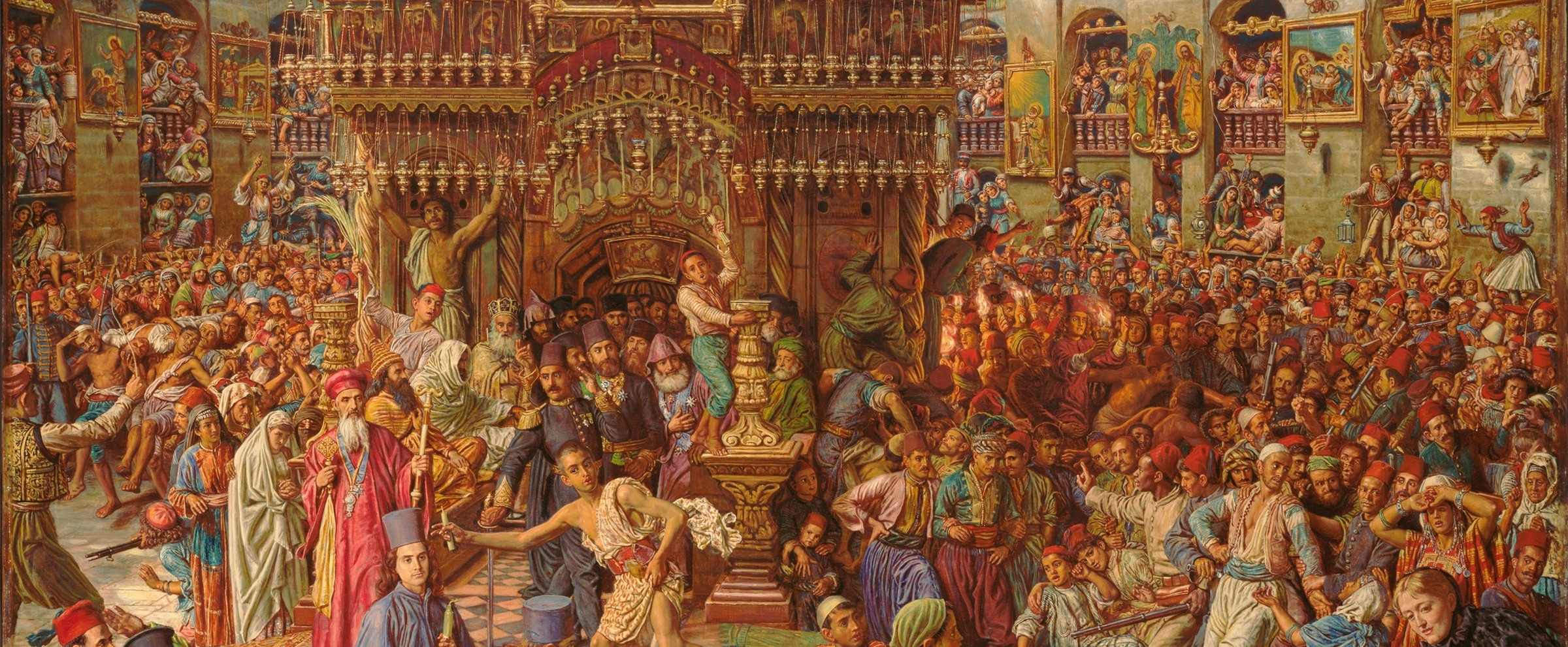 William Holman Hunt.  The Miracle of the Sacred Fire, Church of the Holy Sepulchre  (detail). 1892–1899. Oil and resin on canvas. Harvard Art Museums/Fogg Museum, Gift of Grenville L. Winthrop, Class of 1886 (1942.198)