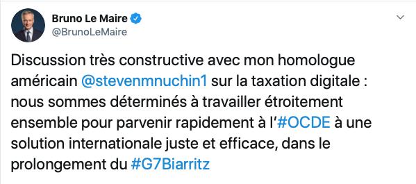 Bruno Le Maire, le 3 septembre 2019 sur Twitter