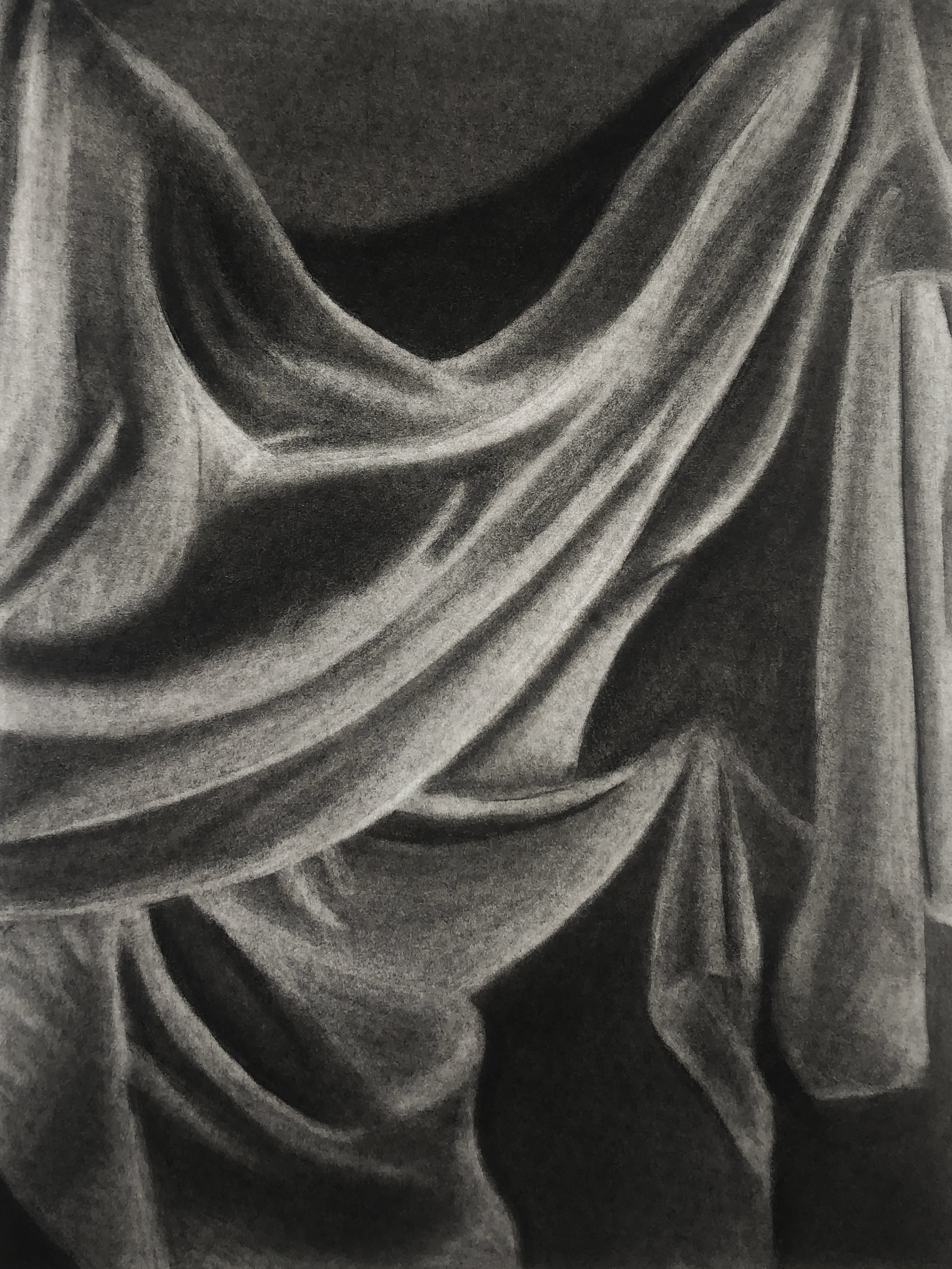 A Study of Fabric - Charcoal and ChalkThe First of several studies; this study was done in an effort to practice composition, shading, and contrast.
