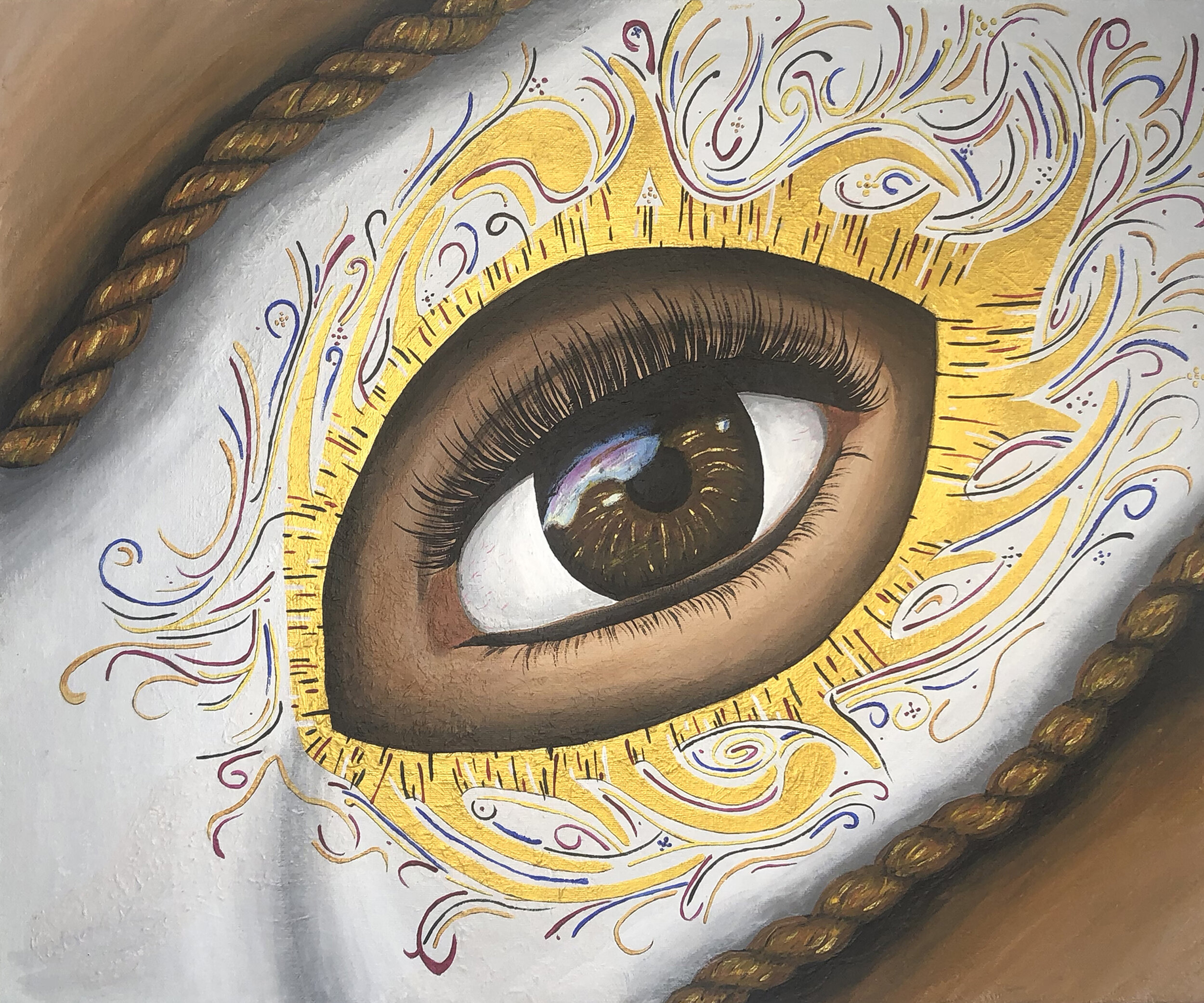 Eye Study - Acrylic and Liquid Foil on CanvasA study on composition, and realism, while exploring mixed media on canvas.