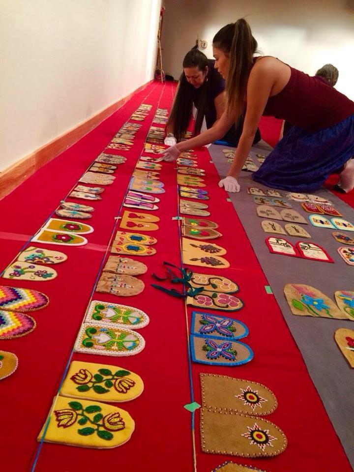 Volunteering to help set up the Walking With Our Sister art exhibit at Wanuskewin Park – Saskatoon, SK. This exhibit displays moccasin vamps that represent the thousands of missing and murdered Indigenous women across Canada.