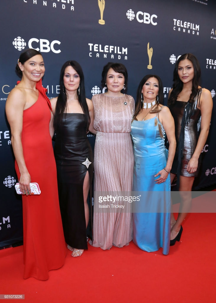 Canadian Screen Awards Broadcast Gala - TORONTO, ON - MARCH 11: Sarain Fox, Michelle Latimer, Jennifer Podemski, Lisa Meeches and Michaella Shannon arrive at the 2018 Canadian Screen Awards at the Sony Centre for the Performing Arts on March 11, 2018 in Toronto, Canada. (Photo by Isaiah Trickey/FilmMagic)