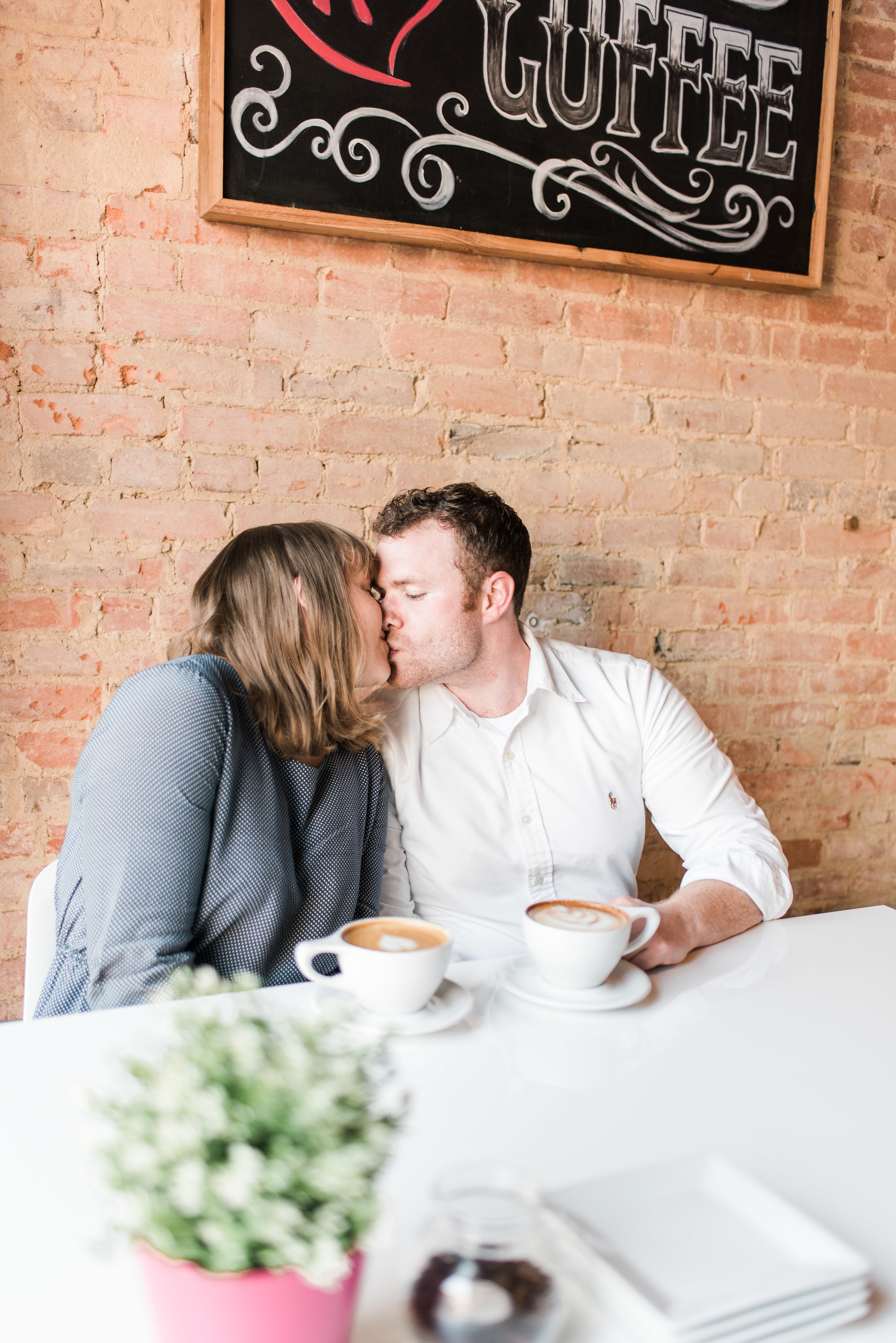 Coffee Shop Engagement Session in Plano, Texas | Gray Door Photography