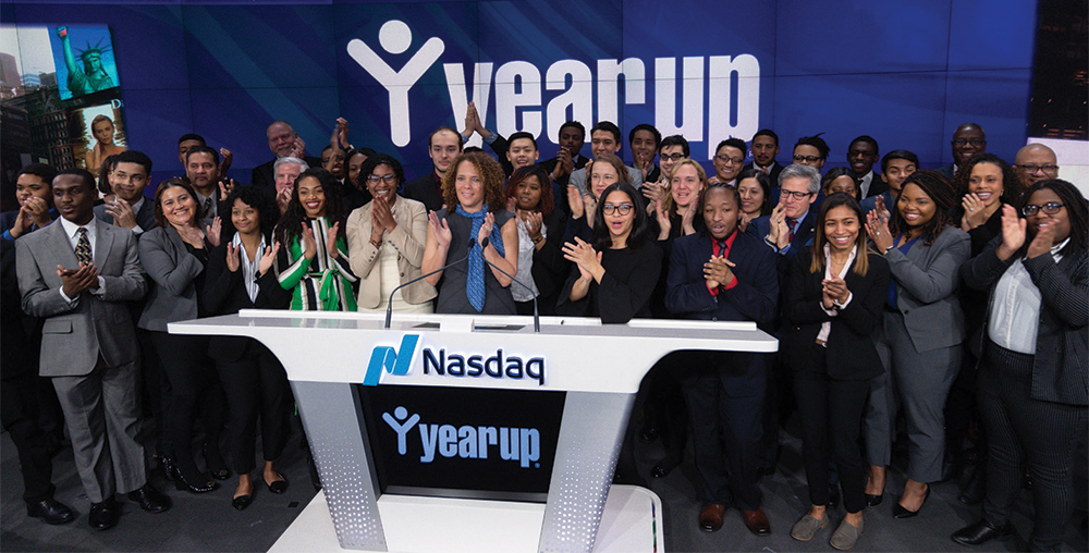 In December 2018, Year Up New York celebrated the official launch of a new Software Development training track offering by ringing the NASDAQ opening bell. The new track will allow Year Up New York to serve an additional 100 students per year.