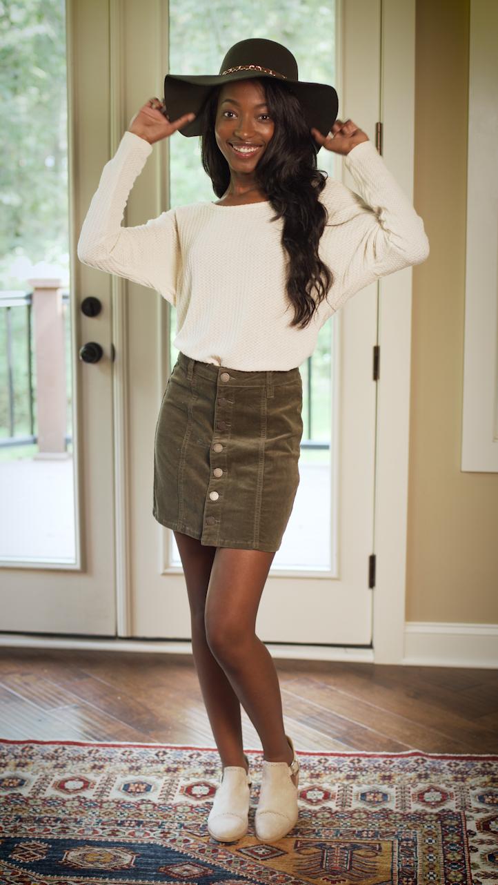- CORDUROYCorduroy Skirt: $12.99Long Sleeved Tee: $5.99Hat: $3.99