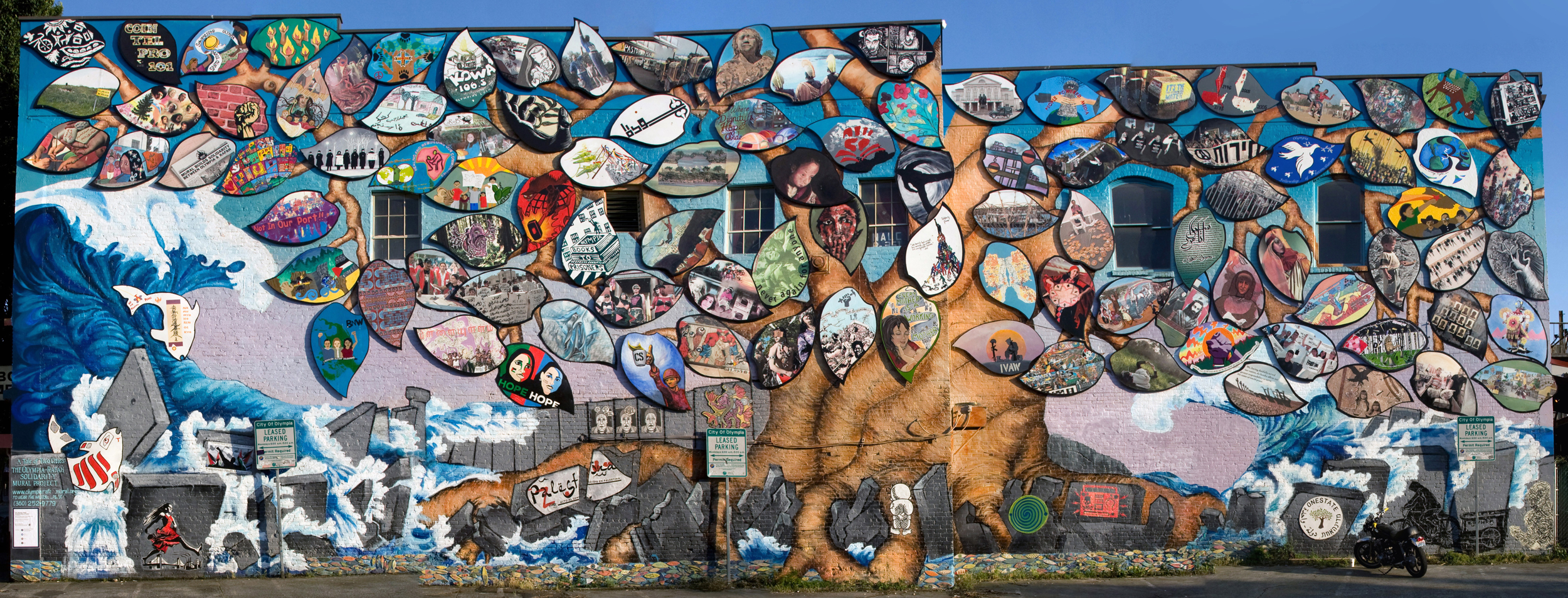 The completed Olympia-Rafah Mural Project, with art from contributors around the world.