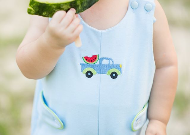 Isn't this watermelon Jon Jon the sweetest in the patch?! Vroom on over to your favorite boutique to shop this style. 🚚💨🍉 #lullabyset #livinginlullaby #johnnyjonjon #cuteandclassic