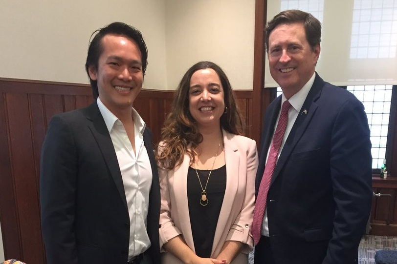 Enrique Lin Shiao, with Marga Gual Soler and Roman Macaya Hayes, at the 2017 Penn Science Policy and Diplomacy Symposium at the University of Pennsylvania