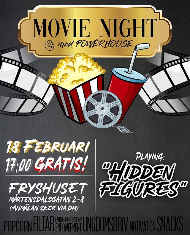 """Varmt välkomna in till Powerhouse's första filmkväll tillsammans här på Fryshuset! Det kommer bjudas på filtar, kuddar, snacks och den berömda oscarsnominerade filmen """"HIDDEN FIGURES"""" som kommer få dig att lämna huset med sprakande motivations en kall och mörk måndagskväll.  Filmen kommer spelas upp 17:30 men se till att vara på plats 17:00 för bekväma platser och hinna ta snacks & popcorn  När? Måndag 18 Februari klockan 17:00 Vart? Fryshuset Mårtensdal Anmälan: Sker via instagram DM eller mail powerhouse@fryshuset.se"""