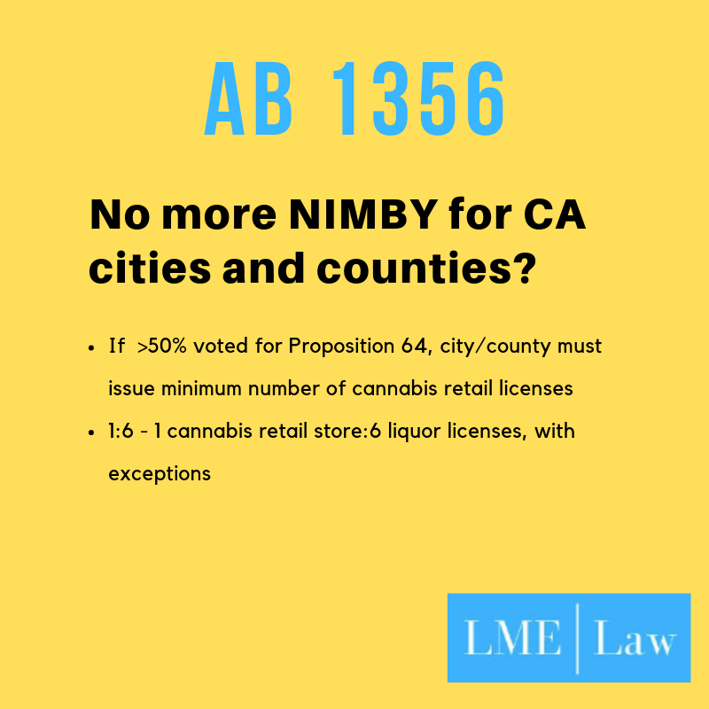 The bill would create a minimum ratio of cannabis to liquor licenses if the local jurisdiction voted 50% or more in favor of Prop 64