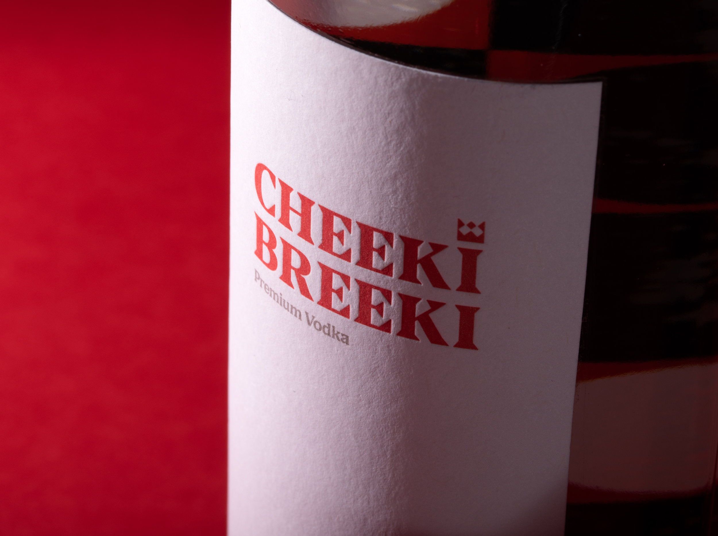 Cheeki Breeki Vodka Bottle LetterPress Label Closeup