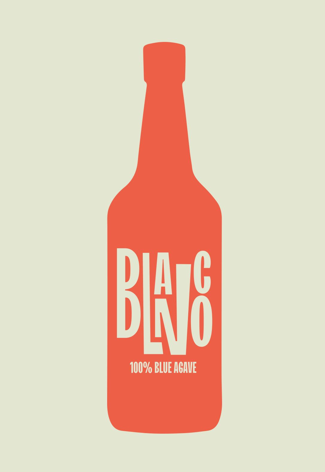 Blanco Tequila Bottle Typography Lockup