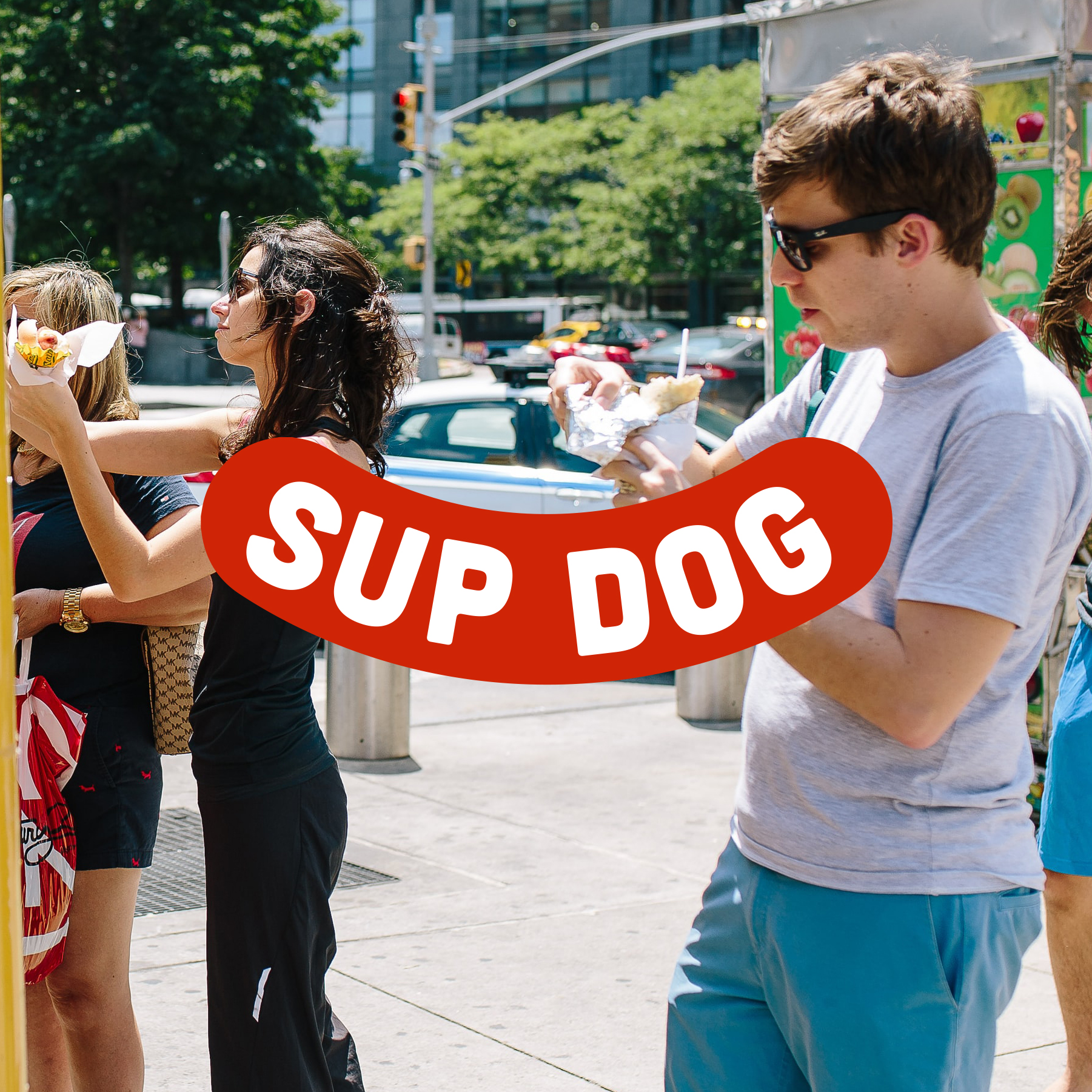 Sup Dog Food Truck with line of people.