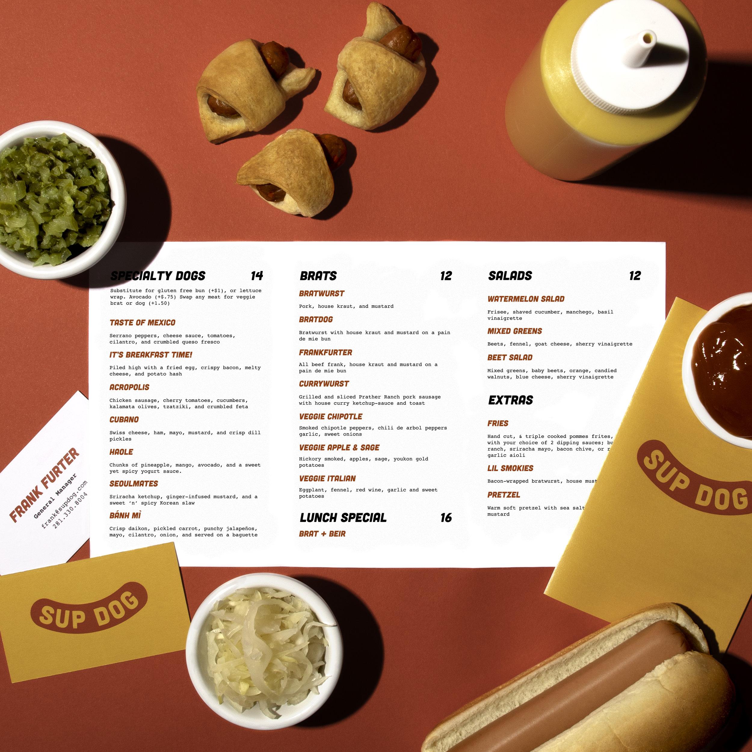 Sup Dog Menu design and photography
