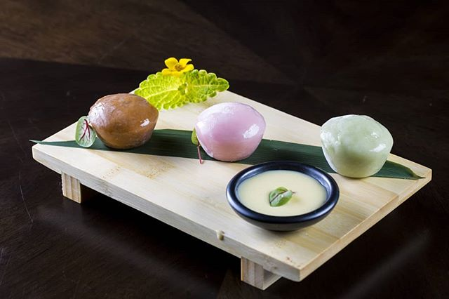 We hope you remembered to save room for Mochi Ice Cream. Pick three flavors from our selection: matcha, red bean, berries, chocolate, and coffee.  #kai #kailegacywest #legacywest #happyhour #planohappyhour #planorestaurants #dallasrestaurants #dessert #eatdrinkenjoylife #mochi #matcha #redbean #berries #chocolate #coffee #icecream #dessert #foodart