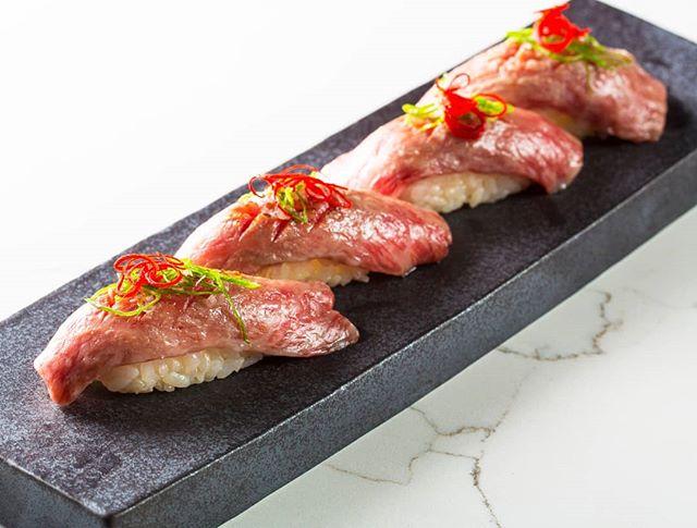 Wagyu Nigiri: Fresh, delicate Wagyu beef, perfectly prepared for our guests.  #kai #kailegacywest #legacywest #happyhour #planohappyhour #planorestaurants #dallasrestaurants #dessert #eatdrinkenjoylife #sushi #beef #wagyu #wagyubeef #wagyunigiri #nigiri