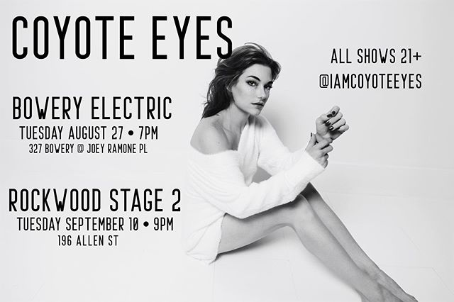 Next up: TUESDAY at Bowery Electric and September 10th at Rockwood Stage 2. See you there ❤️ @rockwoodmusichall @bmi @theboweryelectric @dbradleydrums @wardiewilliams @ghostownrambler @anacchio @iamcoyoteeyes