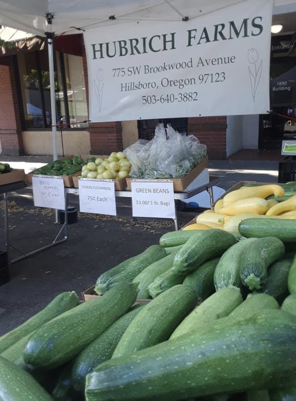 Plants and product from Hubrich Farms at the Downtown Hillsboro Farmers' Market.