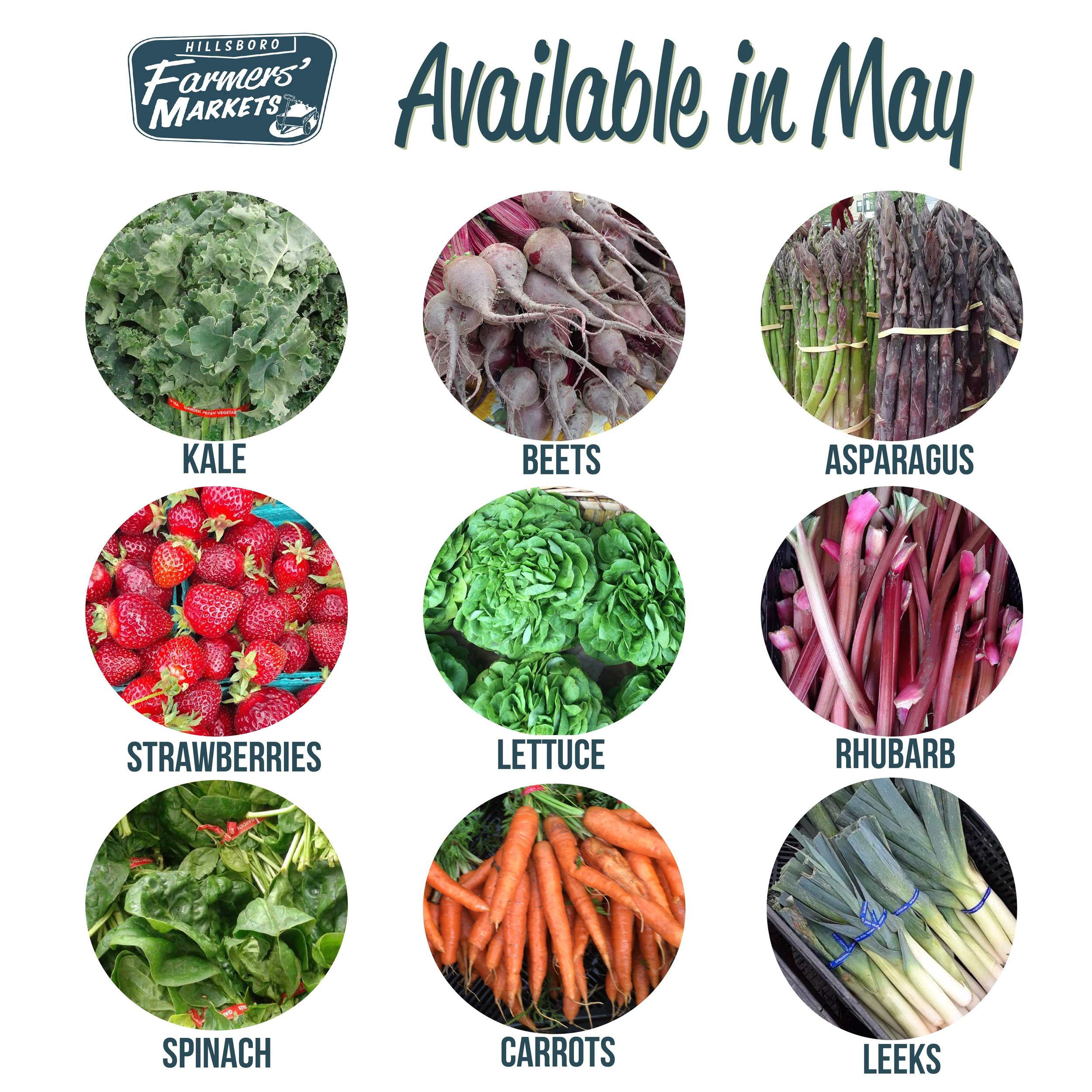 The products available at the market depends on the season. With spring, we see some of our favorites like STrawberries, Rhubarb, and Asparagus! -