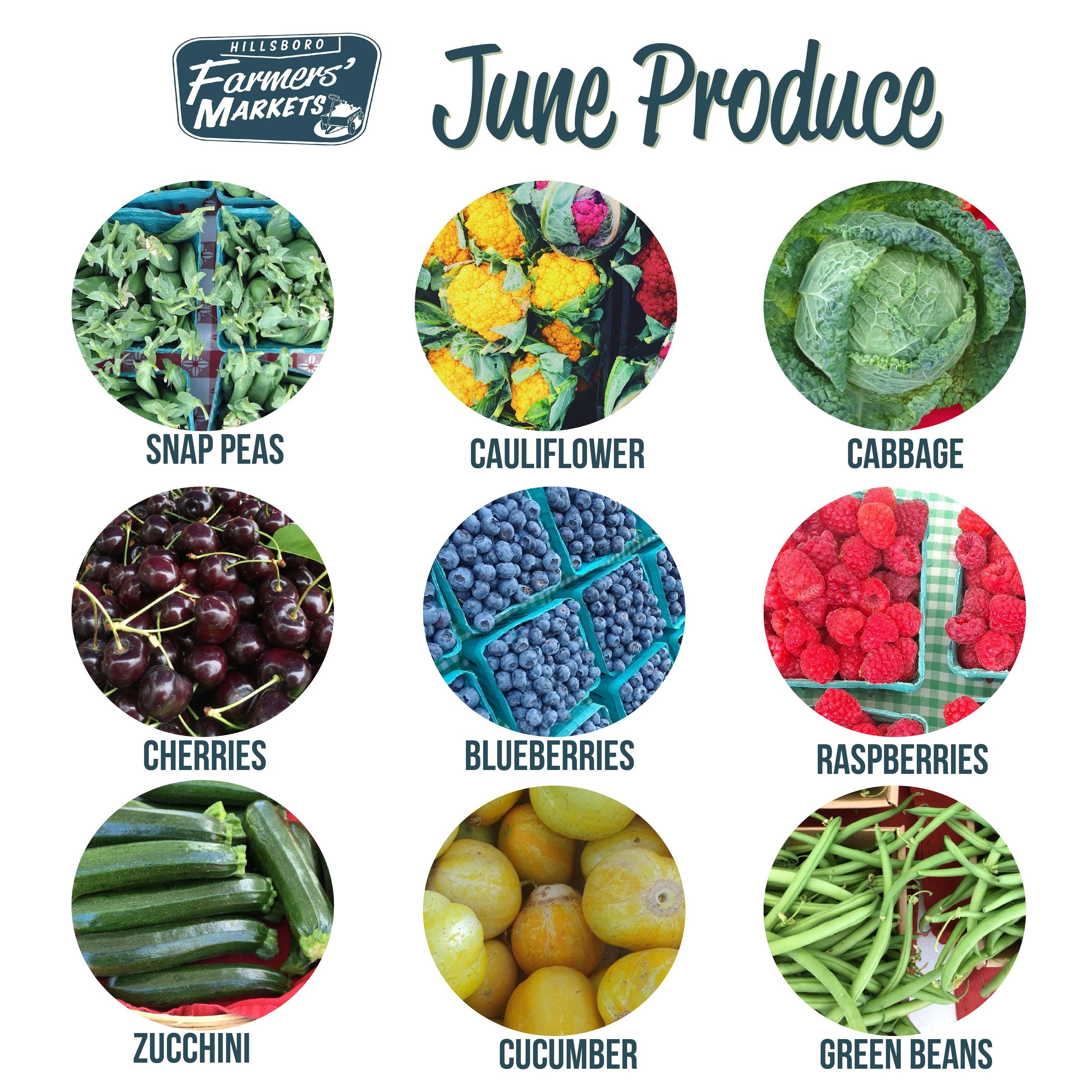 June is here and the official start of summer is just around the corner! We are super excited for the amazing and colorful produce that will be coming our way! Be on the lookout for Farmers MArket favorites like blueberries, Zucchini, Cherries, and Snap Peas. -