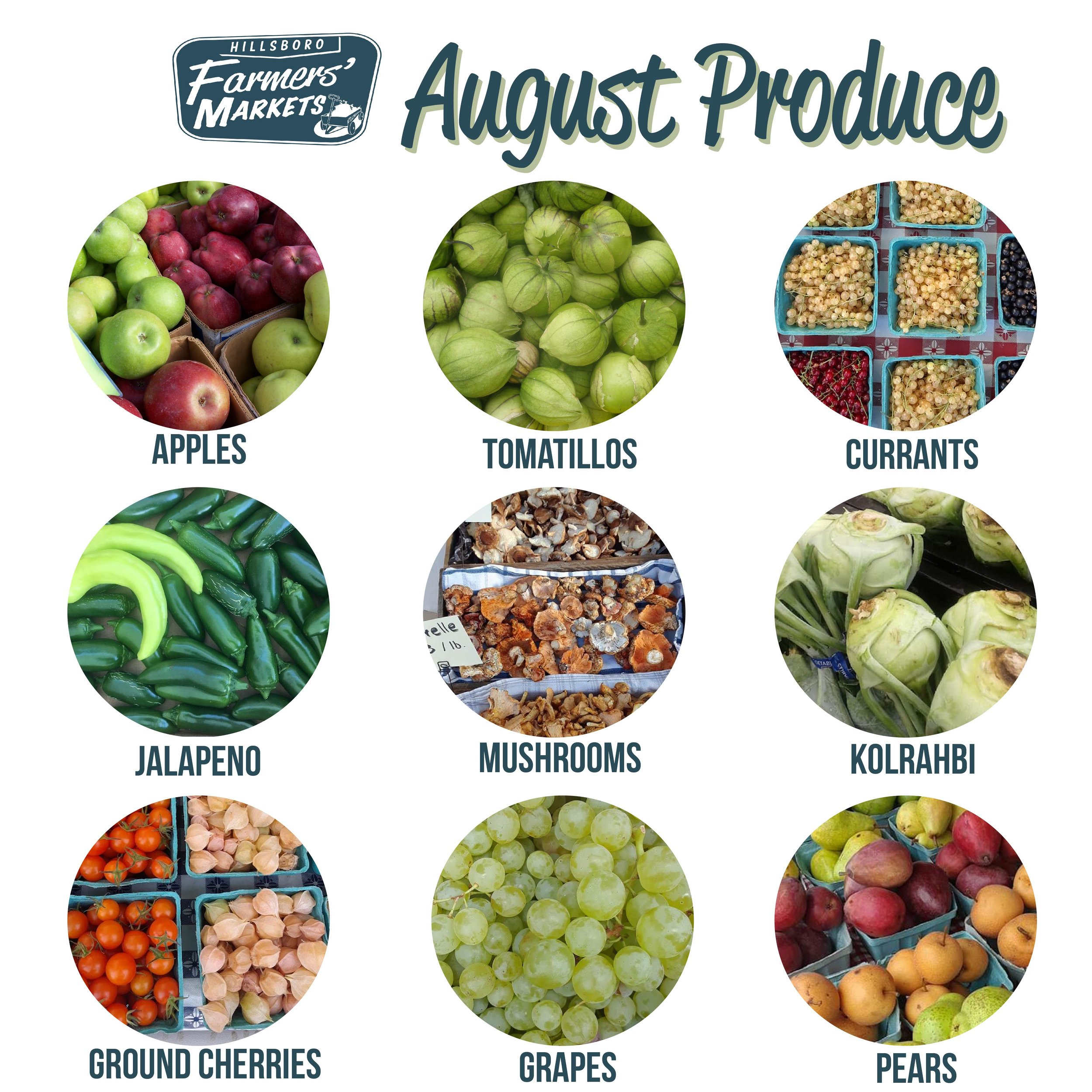 Don't be afraid to try new things this month! Right now you'll find kitchen classics, like apples and pears, alongside unique finds, such as currants and ground cherries. -
