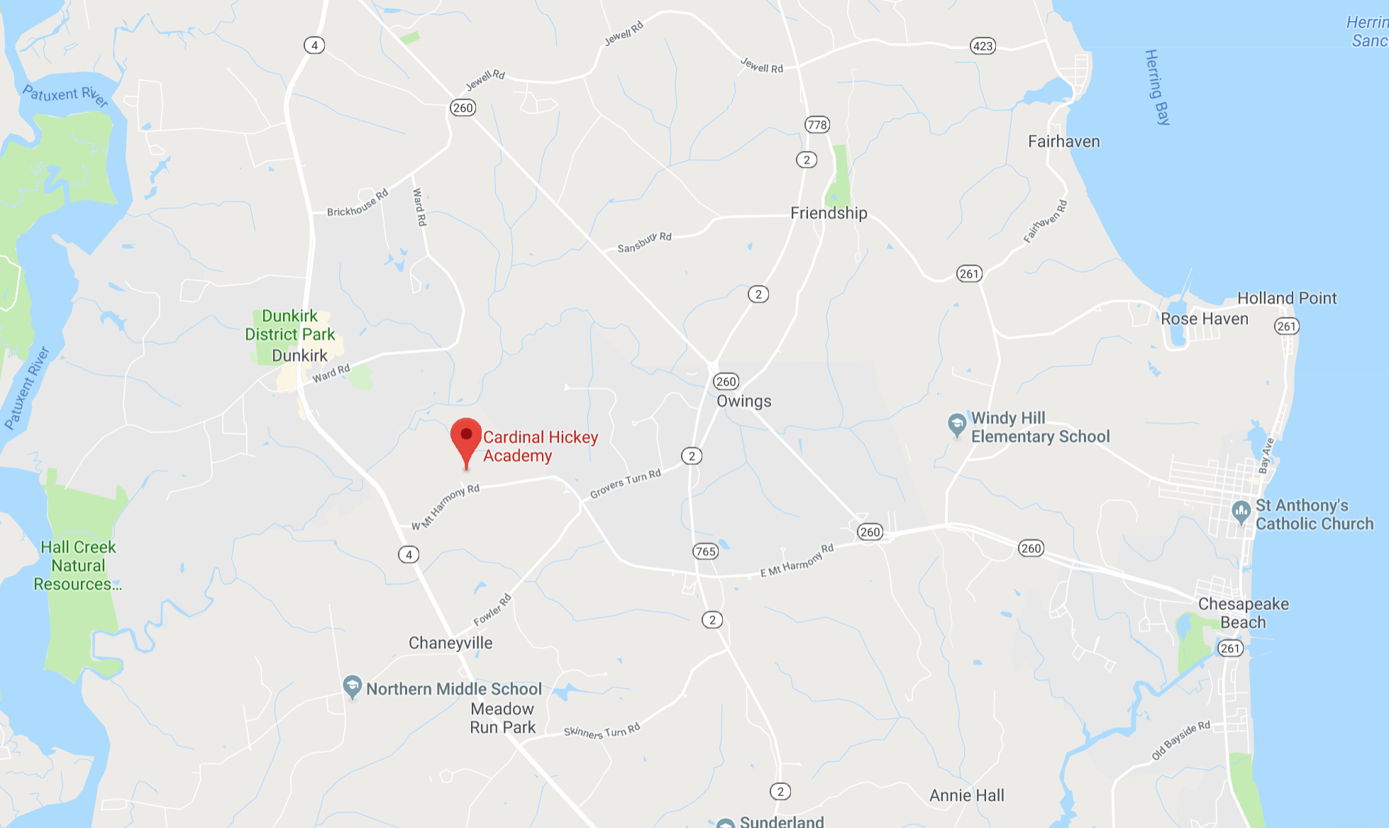 Location   Cardinal Hickey Academy is located Owings, MD in northern Calvert County. Most of our students reside in Calvert and Anne Arundel counties. We are within commuting distance to Washington, DC, Annapolis, Baltimore Joint Base Andrews and parts of Southern Maryland.