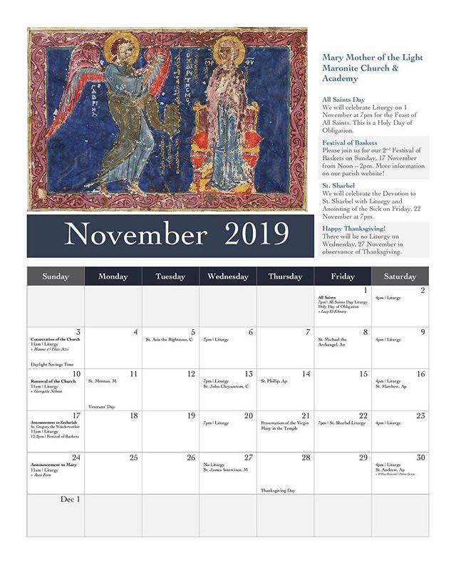 Parish Calendar | November 2019