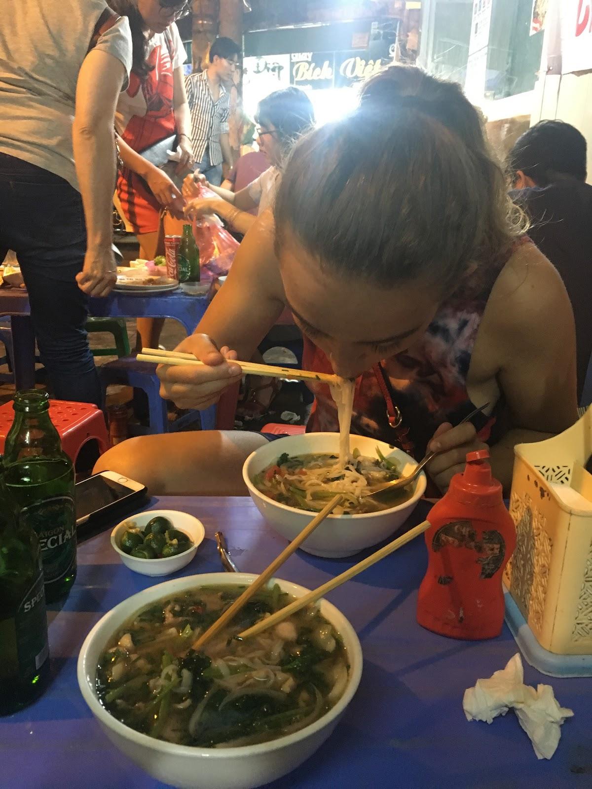Slurping some Pho Bo (Beef noodle soup)