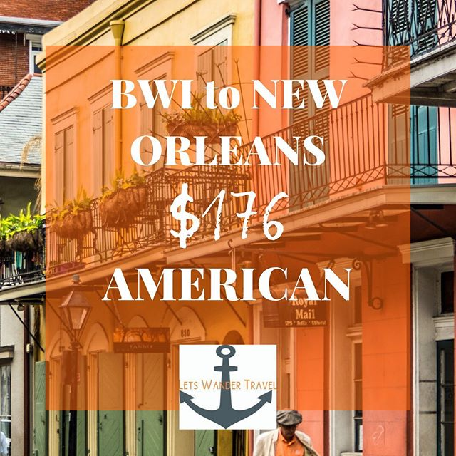 Flights from BWI to NEW ORLEANS Example dates NOV 16-20  We can see these fares thru December  These great fares will only benefit quick decision makers! They don't last long. Tag a friend for a long weekend in New Orleans to go on an adventure with. Check out @bestfoodneworleans if you plan on being hungry when you go! So YUM and our favorite way to discover a location is through its local food scene.  Lets Wander Travel is always available to send you on a Mystery Trip-- see link in bio for deets.  GO HAVE AN ADVENTURE! . . . #bwi #airport #maryland #goodflights #flightdeals #letswander #letswandertravel #mysterytrips #surprisetrips #letsgoonanadventure #travelagency #domestictrips #BaltimoreWashingtonAirport #travel #bucketlist #veteranowned #USAtravel #borntotravel #traveldifferent #don'tbescared #miami #cheapflights #exploretheUSA @neworleans @nola