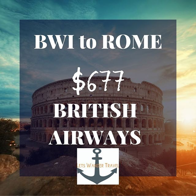 Good Flights from BWI to ROME Example dates Feb 6-14th  We can see these fares only through February  These great fares will only benefit quick decision makers! They don't last long. Tag a friend to go on an adventure with. Rome is a place you can go cheap or high end- your choice! Check out @visit_Rome for great ideas  Lets Wander Travel is always available to send you on a Mystery Trip-- see link in bio for deets.  GO HAVE AN ADVENTURE! . . . #bwi #airport #maryland #goodflights #flightdeals #letswander #letswandertravel #mysterytrips #surprisetrips #letsgoonanadventure #travelagency #domestictrips #BaltimoreWashingtonAirport #travel #bucketlist #veteranowned #USAtravel #borntotravel #traveldifferent #don'tbescared #cheapflights #exploretheUSA #internationaltravel #rome #italy