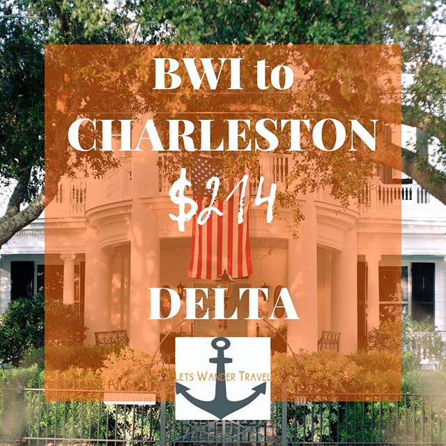 Flights from BWI to CHARLESTON, SC Example dates JAN 10-15  We can see these fares Nov-Feb  These great fares will only benefit quick decision makers! They don't last long. Tag a friend for a long weekend in Charleston to go on an adventure with. Check out @explorecharleston to see what awaits you.  Lets Wander Travel is always available to send you on a Mystery Trip-- see link in bio for deets.  GO HAVE AN ADVENTURE! . . . #bwi #airport #maryland #goodflights #flightdeals #letswander #letswandertravel #mysterytrips #surprisetrips #letsgoonanadventure #travelagency #domestictrips #BaltimoreWashingtonAirport #travel #bucketlist #veteranowned #USAtravel #borntotravel #traveldifferent #don'tbescared #charleston #cheapflights #exploretheUSA @charlestonsc