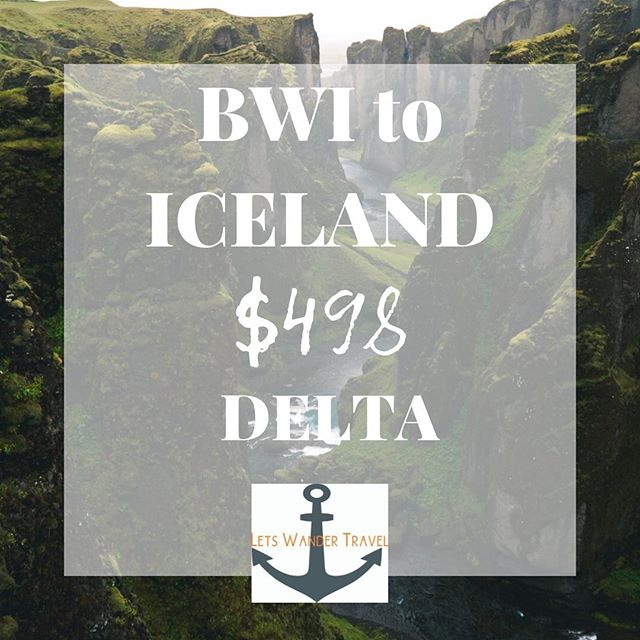 flights from BWI to ICELAND Example dates APR 22-28 We can see these fares APR - JUNE  These great fares will only benefit quick decision makers! They don't last long. Tag a friend for a week adventure in ICELAND to go on an adventure with. Check out @guidetoiceland and see what kind of trouble you can get in!! Lets Wander Travel is always available to send you on a Mystery Trip-- see link in bio for deets.  GO HAVE AN ADVENTURE! . . . #bwi #airport #maryland #goodflights #flightdeals #letswander #letswandertravel #mysterytrips #surprisetrips #letsgoonanadventure #travelagency #domestictrips #BaltimoreWashingtonAirport #travel #bucketlist #veteranowned #USAtravel #borntotravel #traveldifferent #don'tbescared #iceland #cheapflights #exploretheUSA @iceland