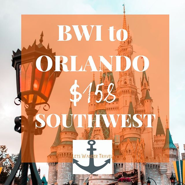 DIRECT flights from BWI to ORLANDO Example dates NOV 13 - 19 We can see these fares THRU APRIL  These great fares will only benefit quick decision makers! They don't last long. Tag a friend for a week adventure in ORLANDO to go on an adventure with. Check out @ORLANDOFOODIENEWS and see what kind of goodies you can stuff yourself with!! Lets Wander Travel is always available to send you on a Mystery Trip-- see link in bio for deets.  GO HAVE AN ADVENTURE! . . . #bwi #airport #maryland #goodflights #flightdeals #letswander #letswandertravel #mysterytrips #surprisetrips #letsgoonanadventure #travelagency #domestictrips #BaltimoreWashingtonAirport #travel #bucketlist #veteranowned #USAtravel #borntotravel #traveldifferent #don'tbescared #florids #cheapflights #exploretheUSA @orlando #magic #wanderer