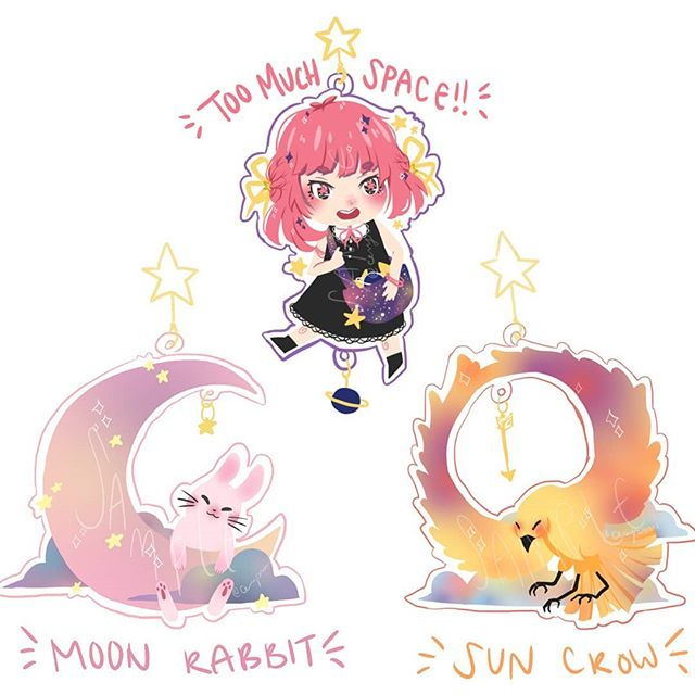 Space! Trio acrylic charms PREORDER and stickers are now up on my shop!!!! Preorders are open until 10/21/18 11:59pm EST and charms will be shipped around mid-late November! Store link in bio!!!! I'm super excited about these, it's been so long since I've made new merch! ;u; • • • #art #drawing #animemerch #acryliccharm #cute #pastel #artshop #animeart #mangaart #animegirl