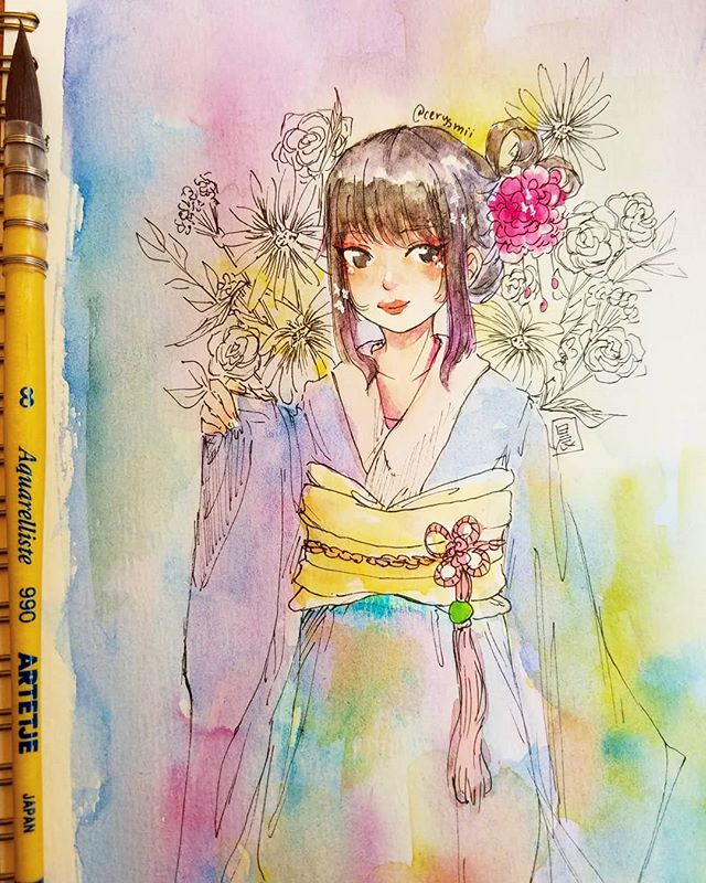 Cleaning my palette with a cafe doodle with @demisolar • • • #art #watercolor #watercolour #painting #illust #illustration #drawing #ink #kimono #イラスト #japanese #animeart #mangaart #animegirl
