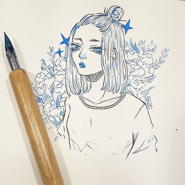 First time using a nib pen + ink omg I haven't drawn in almost a month since my new job has kept me beyond busy. Trying to work myself back into the swing of things! • • • #art #drawing #illustration #illust #doodle #ink #nibpen #winsorandnewton #イラストレーター #イラスト #animeart #mangaart #animegirl