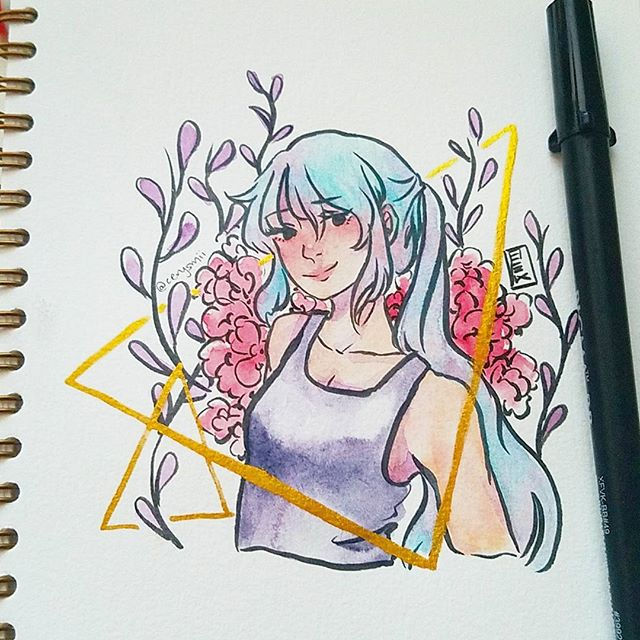 Day 19 - poor lighting but here's a comfort zone doodle • • • #inktober #inktober2017 #art #watercolor #watercolour #drawing #painting #illust #illustration #brushpen #doodle #animeart #mangaart #animegirl