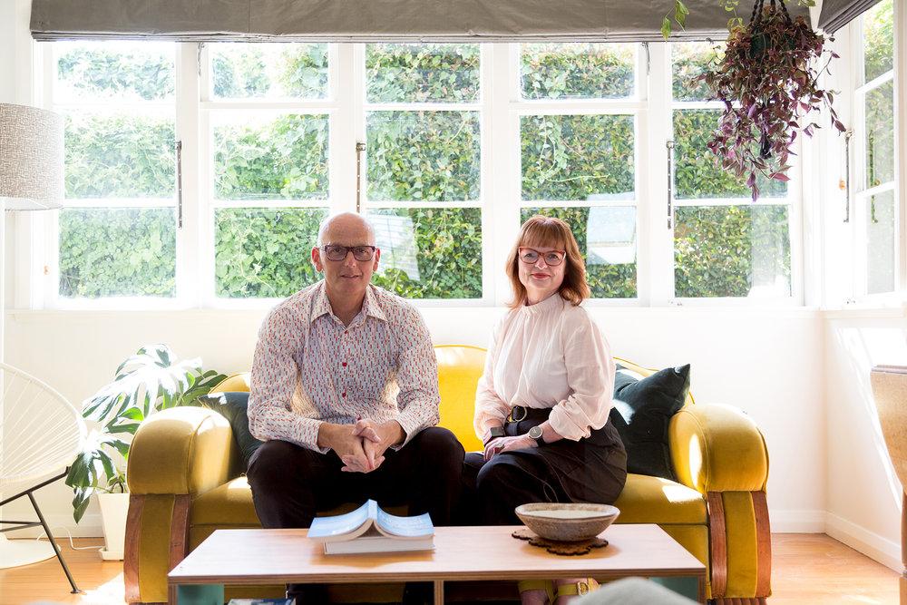 Michael Holmes and Kay McFarlane sitting smiling