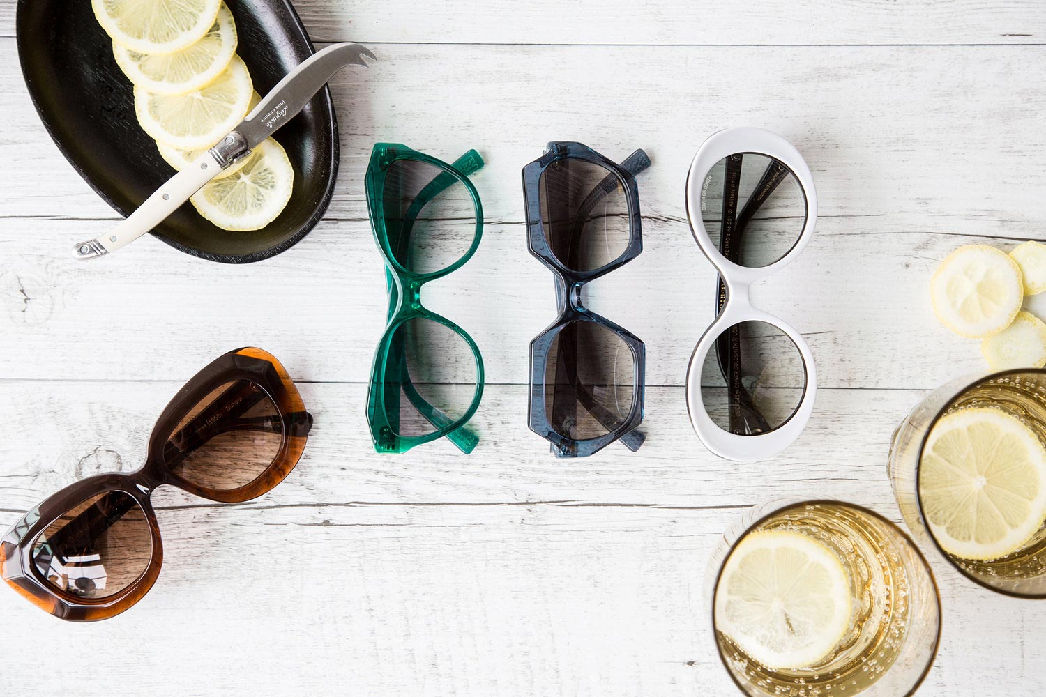 claire and oliver goldsmith sunglasses laid out