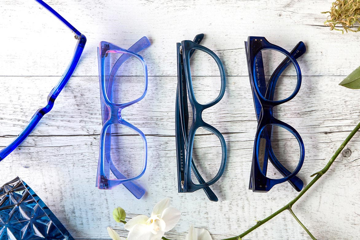 funky blue frames laid out