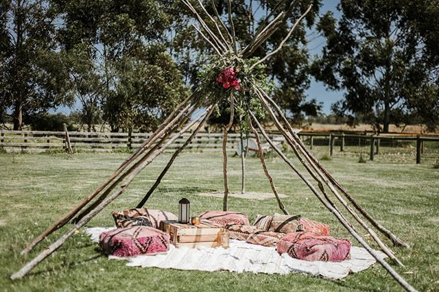 Teepee's and Moroccan poufs 😍 We created this little chillout area for Liesha and Craig's wedding guests at Baldivis Farm Stay @countrycharmweddings  Hire and styling @prettywillow  Photography @opalimagery  #prettywillowstyling #teepee #tipi #bohostyling #perthbride #moroccanpoufs #perthweddings