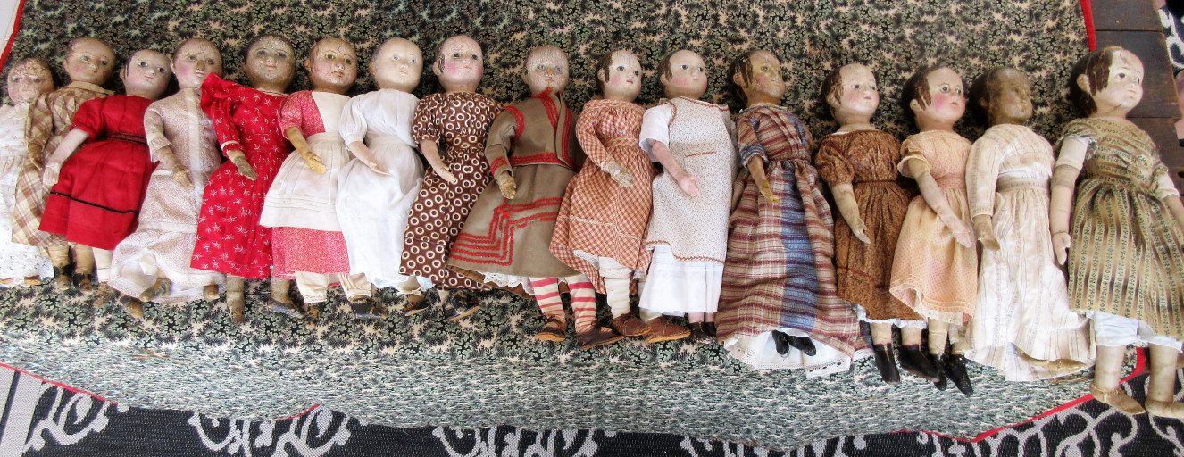 Some of the antique Izannah Walker dolls that appeared in the October 2017 special exhibit that I curated for the Jenny Lind Doll Show. Arranged by height, from 14 to 22.5 inches.