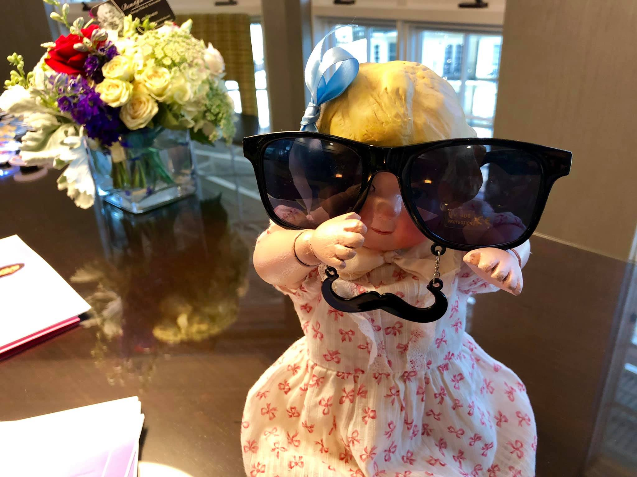 Our Dolly Dingle made by Joelle Strathers at the VDC Meetup event in her Secret Agent Sunglasses